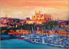Självhäftande poster  Spain Balearic Island Palma de Mallorca with Harbour and Cathedral - M. Bleichner