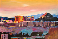 Självhäftande poster  Athens Greece Acropolis At Sunset - M. Bleichner