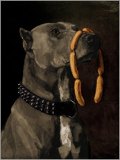 Premiumposter  Great Dane with sausages - Wilhelm Trübner