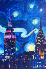 Självhäftande poster  Starry Night, in New York - Van Gogh inspirations in Manhattan - M. Bleichner