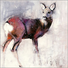 Galleritryck  Shy deer in the snow - Mark Adlington