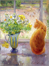 Självhäftande poster  Cat with Flowers in the window - Timothy Easton