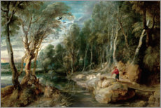 Canvastavla  A Shepherd with his Flock in a Woody landscape - Peter Paul Rubens