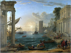 Självhäftande poster  Seaport with the Embarkation of the Queen of Sheba - Claude Lorrain