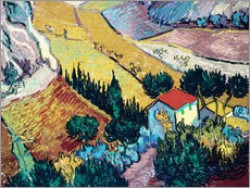 Galleritryck  Landscape with House and Ploughman - Vincent van Gogh