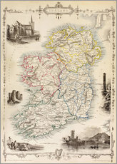 Galleritryck  Karta över Irland av Thomas Wright (18th century) - Ken Welsh