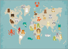 Galleritryck  For the Nursery: world map of animals - Petit Griffin