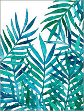 Galleritryck  Watercolor Palm Leaves on White - Micklyn Le Feuvre
