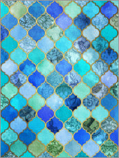 Premiumposter  Cobalt blue, gold moroccan tile pattern - Micklyn Le Feuvre