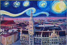 Självhäftande poster  Starry Night in Munich - M. Bleichner