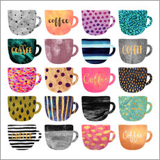 Galleritryck  Pretty coffee cups - Elisabeth Fredriksson