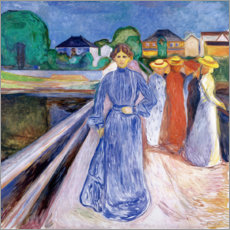 Canvastavla  The Ladies on the Bridge - Edvard Munch