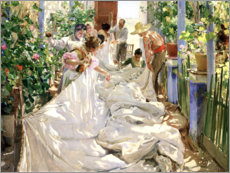 Canvastavla  Sewing the Sail - Joaquín Sorolla y Bastida