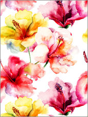Galleritryck  Lily flowers in watercolor