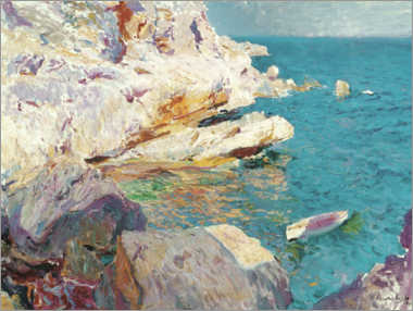 Canvastavla  Rocks and white boat, Jávea - Joaquín Sorolla y Bastida