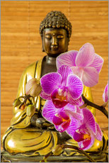 Galleritryck  Buddha with orchid