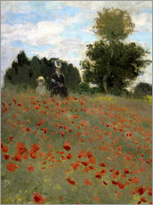 Självhäftande poster  Poppy field at Argenteuil - Claude Monet