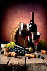 Galleritryck  Red wine with grapes and corks