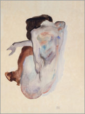 Galleritryck  Crouching Nude in Shoes and Black Stockings, Back View - Egon Schiele