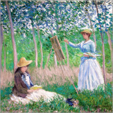 Akrylglastavla  Suzanne and Blanche Hochede - Claude Monet