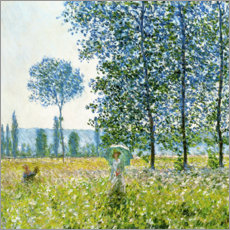 Trätavla  Sunlight Effect under the Poplars - Claude Monet
