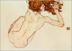 Galleritryck  Crouching nude, back view - Egon Schiele