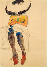 Galleritryck  Seated Semi Nude with Hat and Purple Stockings - Egon Schiele