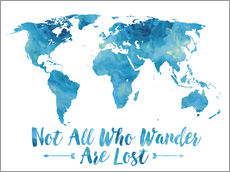 Galleritryck  Not all who wander are lost map (blue) - Mod Pop Deco