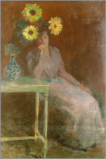 Självhäftande poster  Sedentary woman next to a vase with sunflowers - Claude Monet
