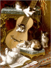 Galleritryck  Kittens at play with a guitar - Jules Le Roy
