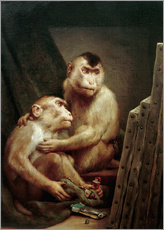 Galleritryck  The art critic - two monkeys look at a painting - Gabriel von Max