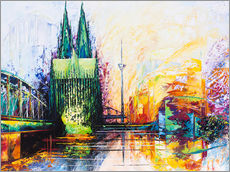 Galleritryck  Cologne Cathedral Skyline colored - Renate Berghaus