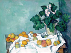 Premiumposter Still Life with Apples and a Pot of Primroses