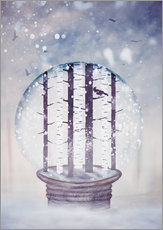 Galleritryck  Snowglobe with birch trees and raven - Sybille Sterk
