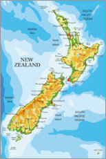 Galleritryck  New Zealand - Map