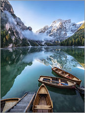 Självhäftande poster  Early morning on Lake Braies, Dolomites - Achim Thomae