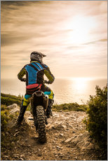 Självhäftande poster  Enduro racer on the coast