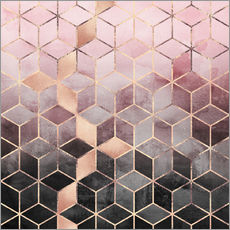 Galleritryck  Pink And Grey Gradient Cubes - Elisabeth Fredriksson