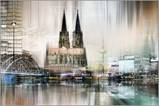 Galleritryck  Abstract skyline in Cologne, Germany - Städtecollagen