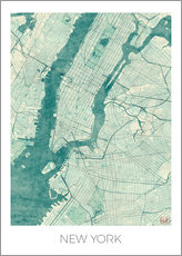Självhäftande poster  Map of New York, Blue - Hubert Roguski