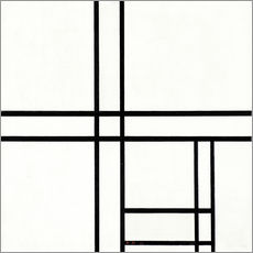 Självhäftande poster  Composition in black and white, with double lines - Piet Mondriaan