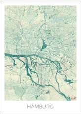 Galleritryck  Hamburg, Germany map blue - Hubert Roguski