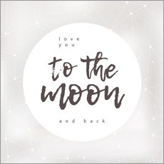 Självhäftande poster  Love you (to the moon and back) - Typobox