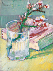 Självhäftande poster  Blossoming Almond Branch in a Glass with a Book - Vincent van Gogh