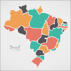 Självhäftande poster  Brazil map modern abstract with round shapes - Ingo Menhard