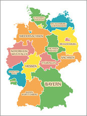 Självhäftande poster  Germany map with labels for learning children - Ingo Menhard
