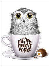 Självhäftande poster  Owl you need is coffee - Nikita Korenkov