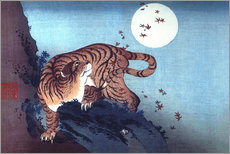 Galleritryck  Tiger and the Moon - Katsushika Hokusai