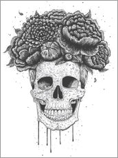 Galleritryck  Skull with flowers - Valeriya Korenkova