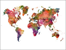 Självhäftande poster  Colourful world map - Dani Wijeyesinghe
